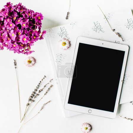 Photo for Workspace. tablet, lavender, wedding photo album, bouquet of flowers on white background. top view, flat lay - Royalty Free Image