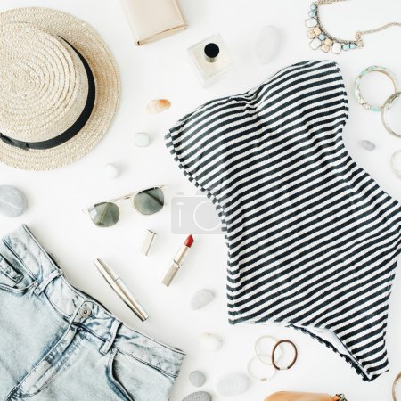 woman summer clothes and accessories