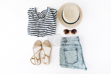 Photo for Woman summer clothes collage on white, flat lay, top view - Royalty Free Image