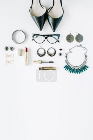 flat lay feminine accessories