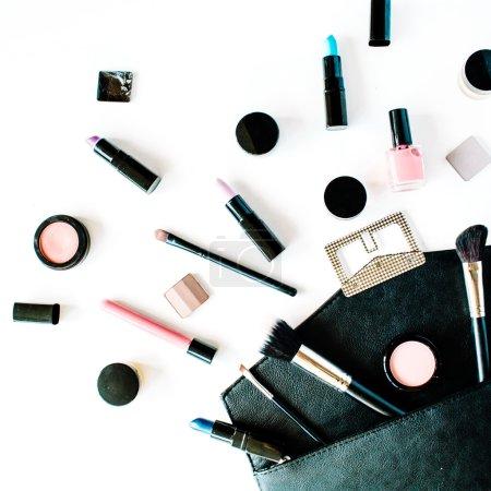 Flat lay female cosmetics collage