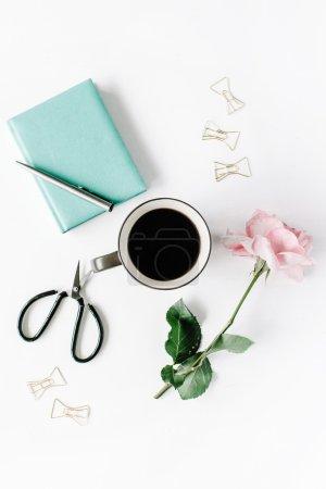 black coffee mug, pink rose