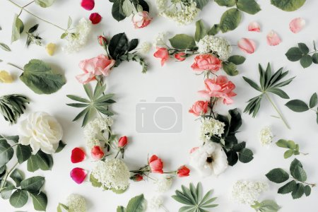 Photo for Flat lay frame with pink and white roses, branches, leaves and petals isolated on white background. top view - Royalty Free Image