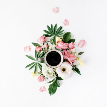 Photo for Black coffee mug, pink roses and white hydrangea flowers bouquet on white background. flat lay, top view - Royalty Free Image