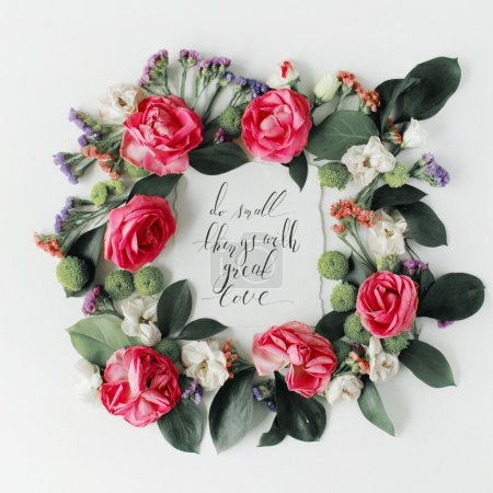 inspirational quote in flowers frame