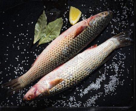 raw fish with lemon and salt
