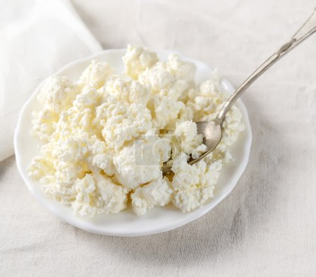 Plate of homemade cottage cheese