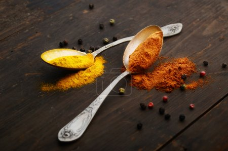 Spoons with assorted spices