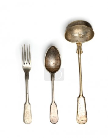 Vintage scoop and spoon with fork