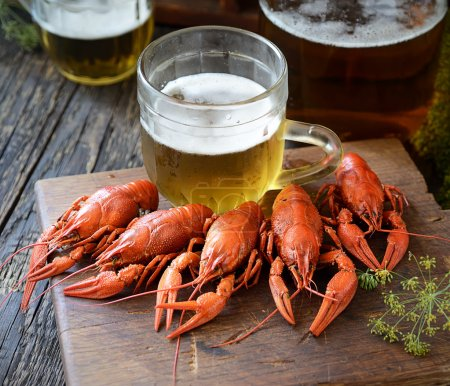 boiled crawfishes and beer