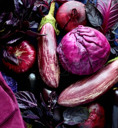 Collection of fresh purple vegetables