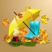 Podzimní vektorové pozadí s listy, žlutý deštník, modré holínky a šálek horké kávy nebo čaje
