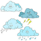 Clouds cartoon characters Set of clouds Weather Vector