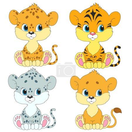 Illustration pour Ensemble de personnages de dessins animés. Des petits mignons. Lion, léopard, tigre, léopard des neiges . - image libre de droit