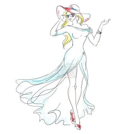Illustration pour Fille Fashion lunettes de soleil et un chapeau. Élément pour votre conception - image libre de droit