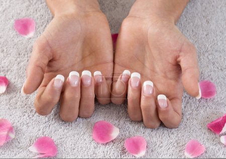 Hands of young woman with manicure