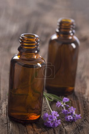 Lavender oil in a glass bottle