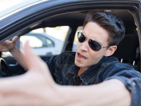 Irritated young driver
