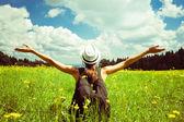 Girl enjoying the freedom outdoors