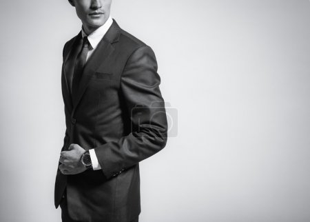 Photo for Black and white image of man in suit. - Royalty Free Image
