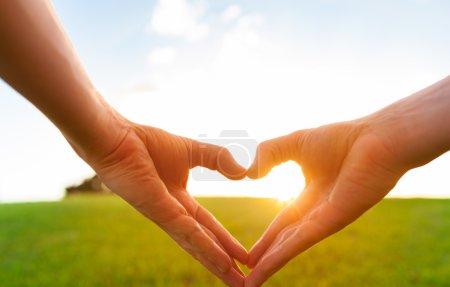 Love shape hands