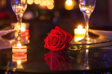 Romantic candle light dinner