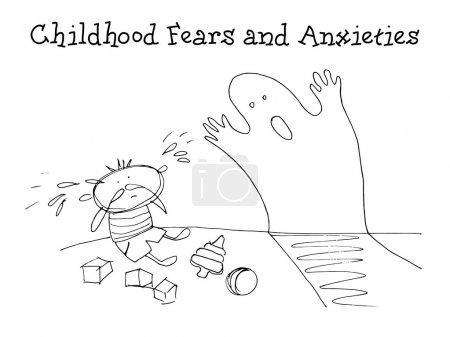 Illustration for Childhood fears and anxieties. Kids Health. Graphics sketch in vector. - Royalty Free Image