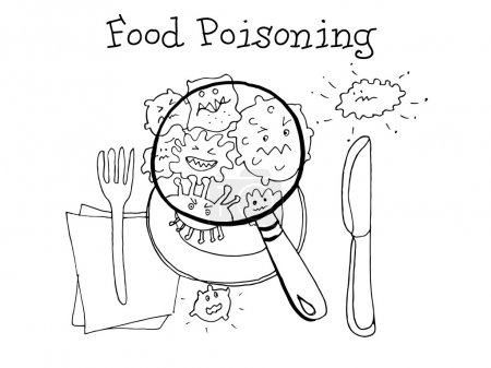 Food poisoning. Kids Health. Graphics sketch in vector.