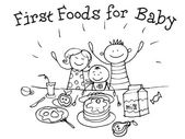 First Food for Babies Nutrition Kids Health Graphics sketch in vector