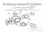Swimming Lessons for Children Kids Health Graphics sketch in vector