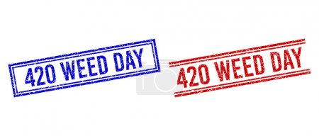 Scratched Textured 420 WEED DAY Stamps with Double Lines