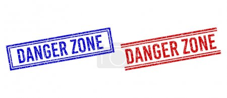 Grunge Textured DANGER ZONE Stamp Seals with Double Lines