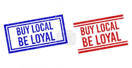 Scratched Textured BUY LOCAL BE LOYAL Seal with Double Lines