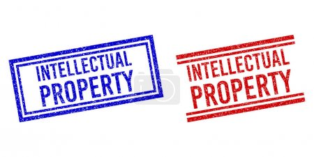 Grunge Textured INTELLECTUAL PROPERTY Stamps with Double Lines