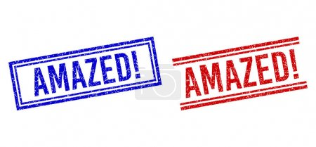 Rubber Textured AMAZED exclamation Stamps with Double Lines
