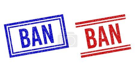 Illustration pour Empreintes en caoutchouc BAN avec effet grunge. Vecteurs conçus avec des lignes doubles, en versions bleue et rouge. Légende placée à l'intérieur du double cadre rectangle et des lignes parallèles. - image libre de droit