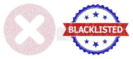 Illustration pour Timbre rayé sur la liste noire, et annuler la structure du réseau d'icônes. Timbre bicolore rouge et bleu a étiquette Blacklisted à l'intérieur du ruban et de la rosette. Annulation abstraite de maille plate, construite à partir de maille plate. - image libre de droit