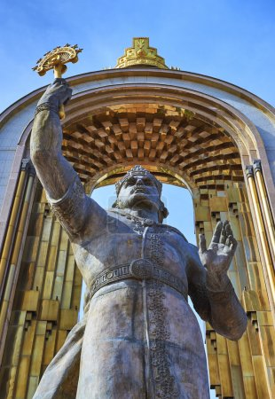 DUSHANBE,TAJIKISTAN-MARCH 15,2016:Statue of Ismoil Somoni in the centre of city.
