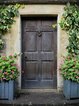 View of a Beautiful Front Door of an Old House