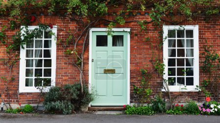 Photo for View of the Front Door of an Attractive Old Red Brick London Town House - Royalty Free Image