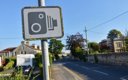 Speed Camera Warning Sign on a City Street