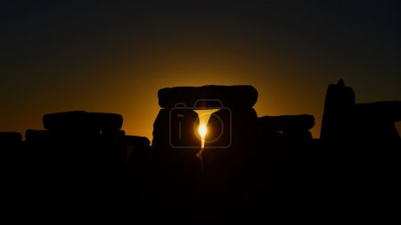 Silhouette of the Standing Stones at Stonehenge in England