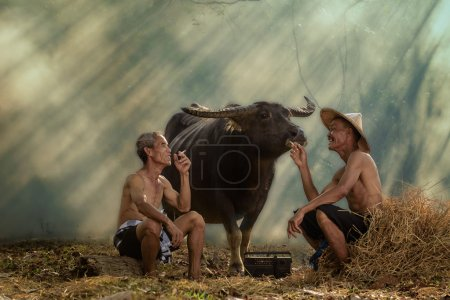 Two farmers are laughing with happiness