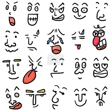 Illustration for Vector set of cartoon face - Royalty Free Image