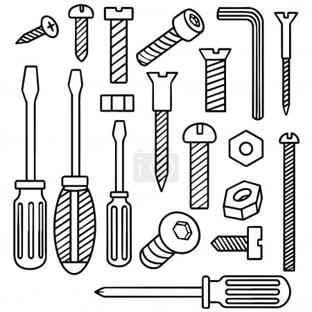 Illustration for Vector set of screw and screwdriver - Royalty Free Image