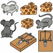 vector set of mouse and mousetrap