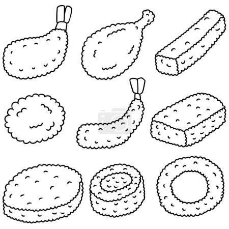 vector set of fried food