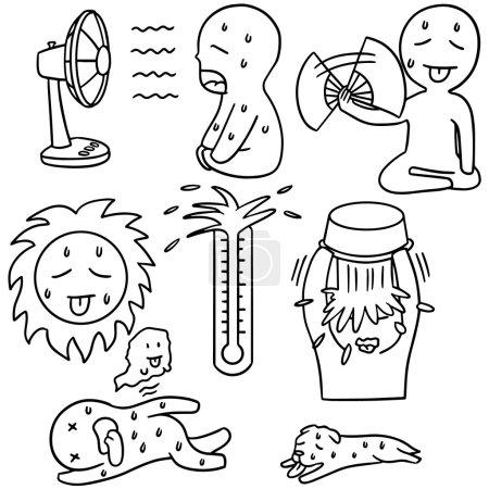 vector set of hot weather