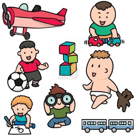 vector set of children and toys