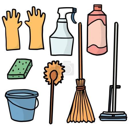 Vector set of cleaning supplies